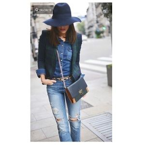 TOPSHOP Navy Blue & Black Wide Brim Wool Fedora